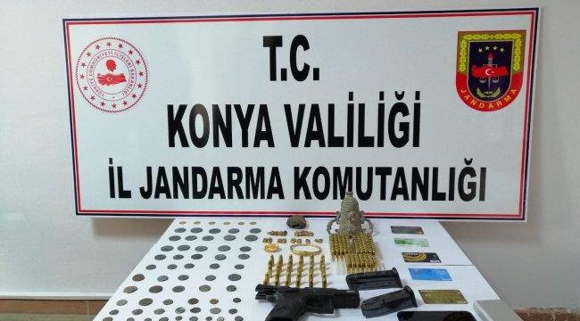 Konya'da 91 adet tarihi eser ele geçirilirken, 5 kişi gözaltına alındı