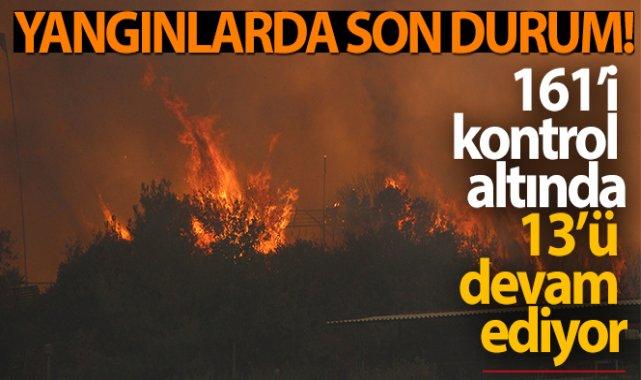 Yangınlarda son durum: 161'i kontrol altında, 13 yangın devam ediyor